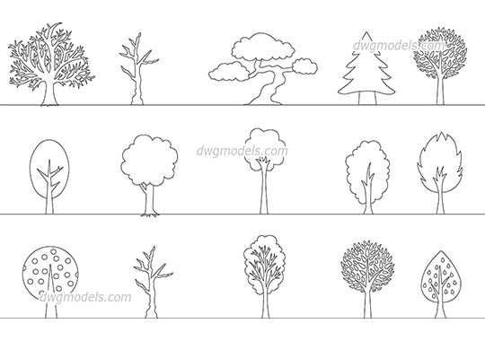 Decorative Trees free dwg model