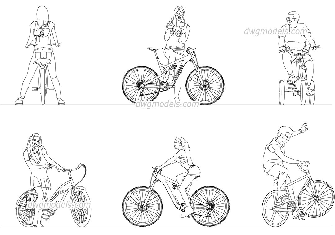 People Ride a Bicycle dwg, CAD Blocks, free download.