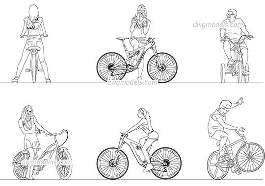 People Ride a Bicycle AutoCAD blocks