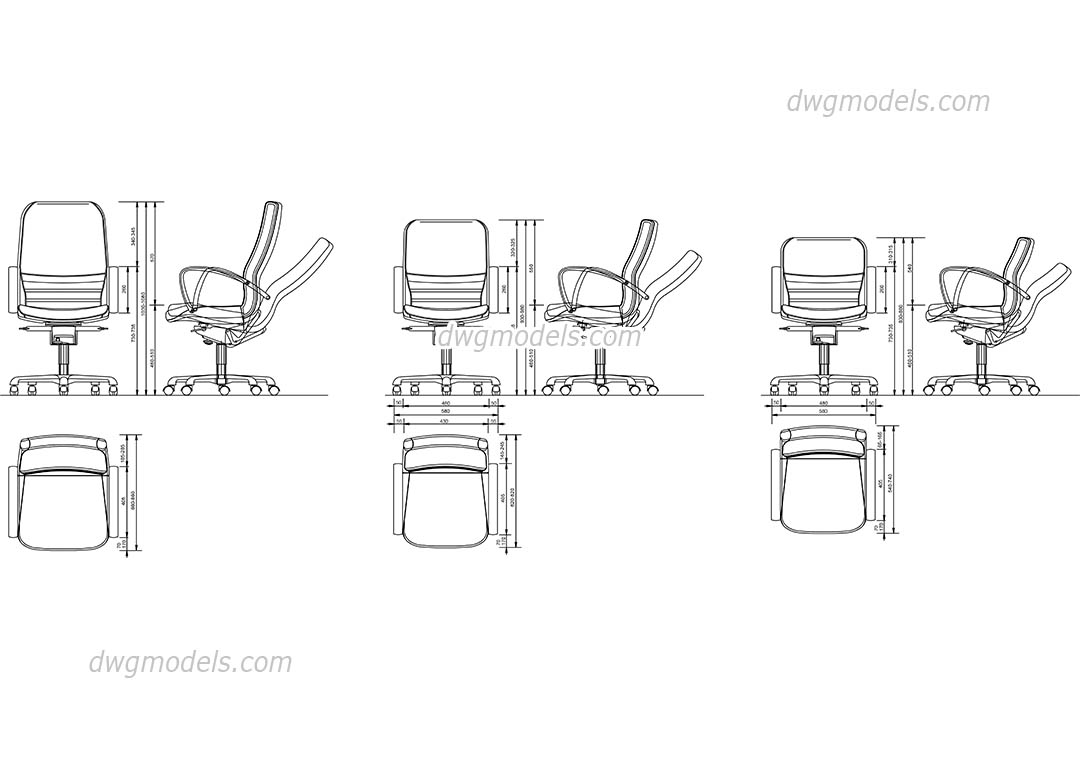 Office Chair CAD block, free AutoCAD model download