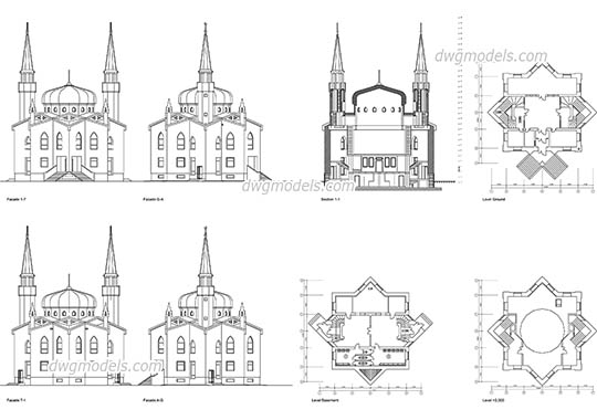 Mosque dwg, cad file download free
