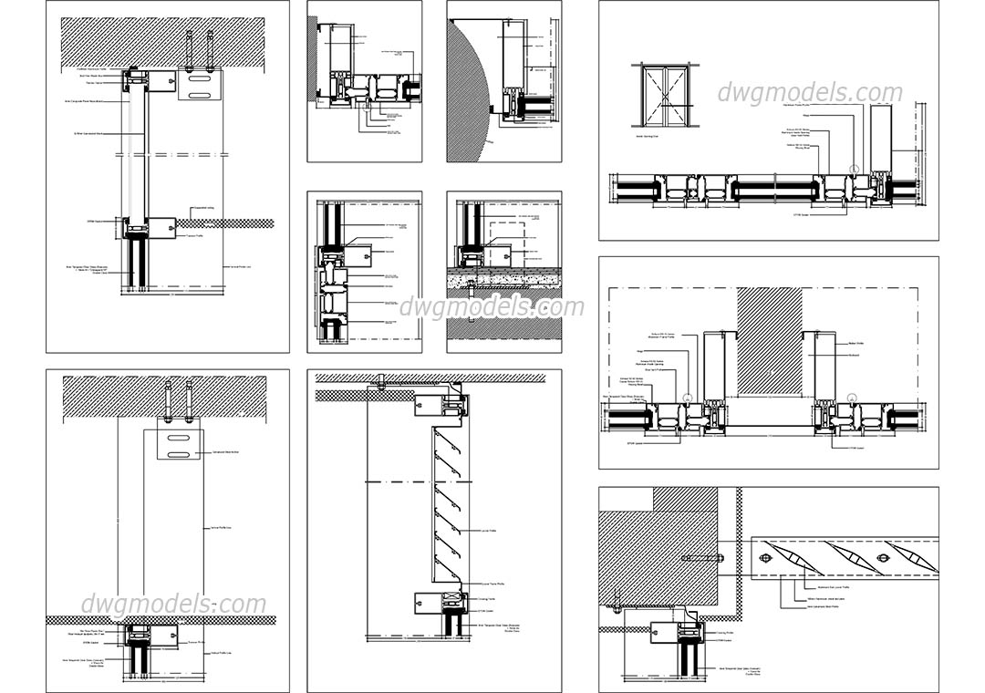 glass wall systems details dwg autocad drawings