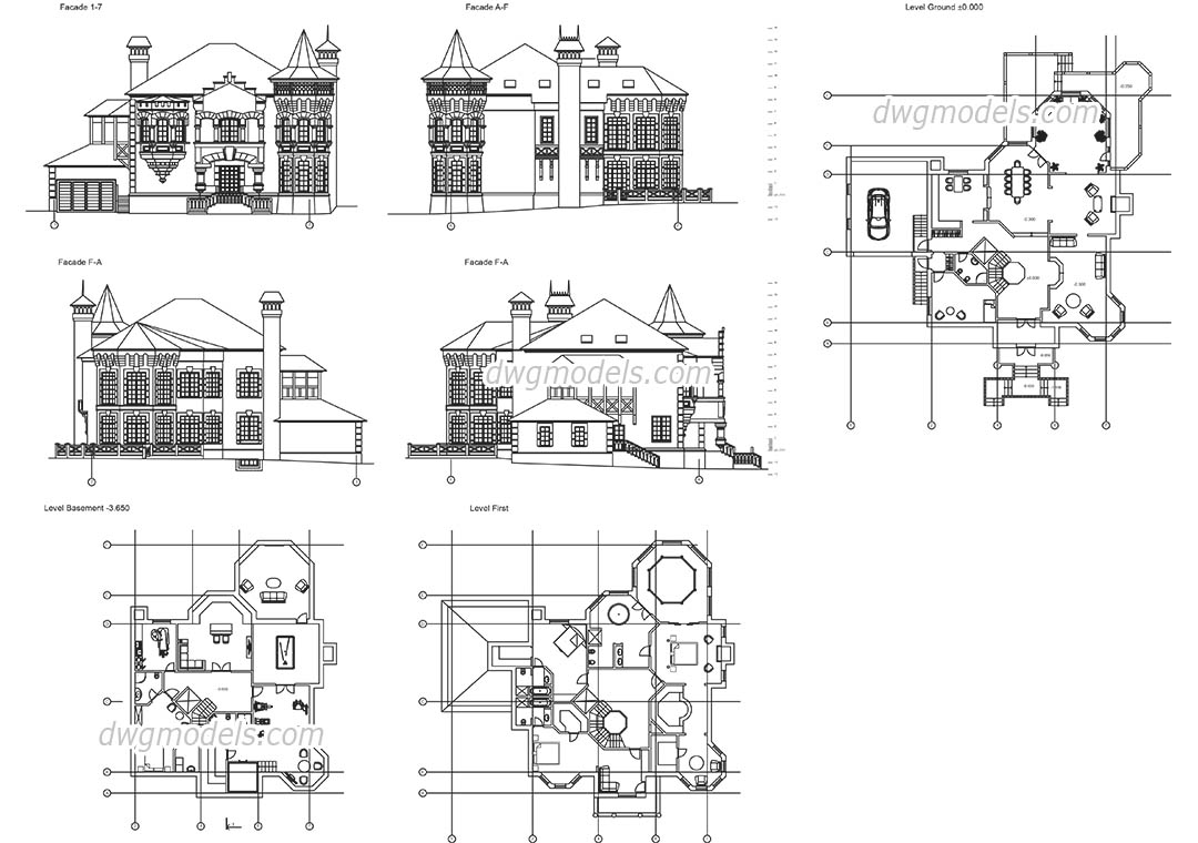 Autocad castle dwg free drawing download for Online cad drawing