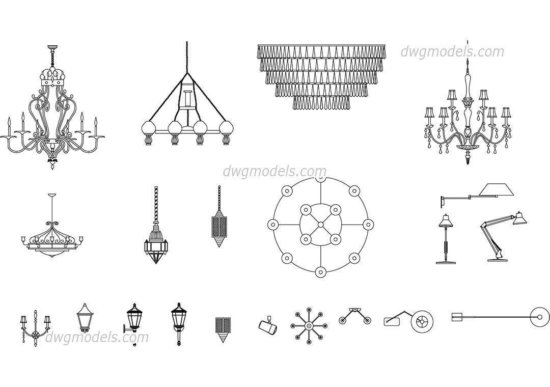 Lamps And Chandeliers Free Autocad Blocks Download Dwg File