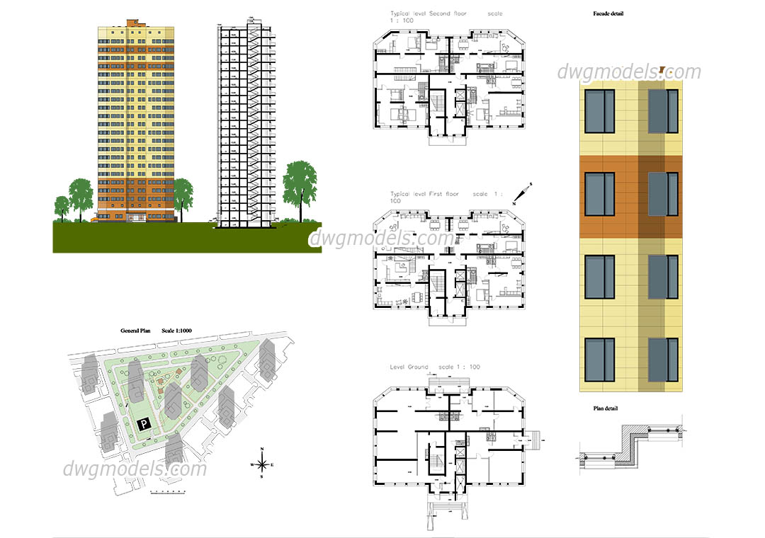 Apartment autocad plans free cad drawings download for Apartment plans autocad