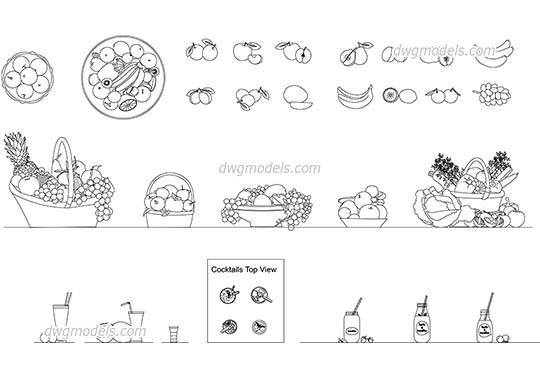 Fruits & Cocktails dwg, cad file download free.