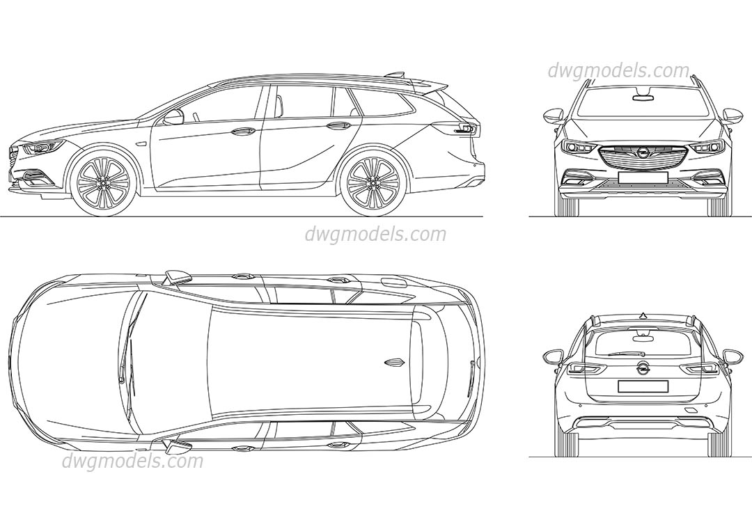 Opel Insignia Grand Sport 2017 Autocad Drawings Download