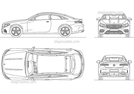 Mercedes-Benz E-Class Coupe AutoCAD blocks