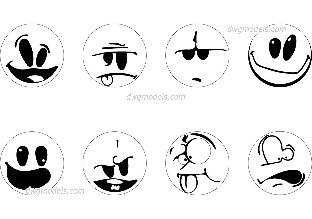 Smiles dwg, CAD Blocks, free download.