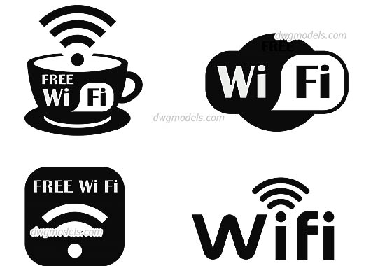Wi-Fi Symbol dwg, cad file download free