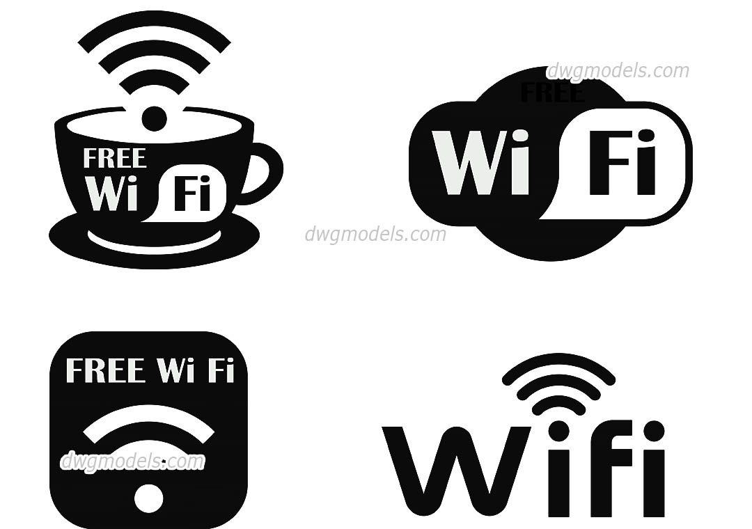 Wi-Fi Symbol dwg, CAD Blocks, free download.