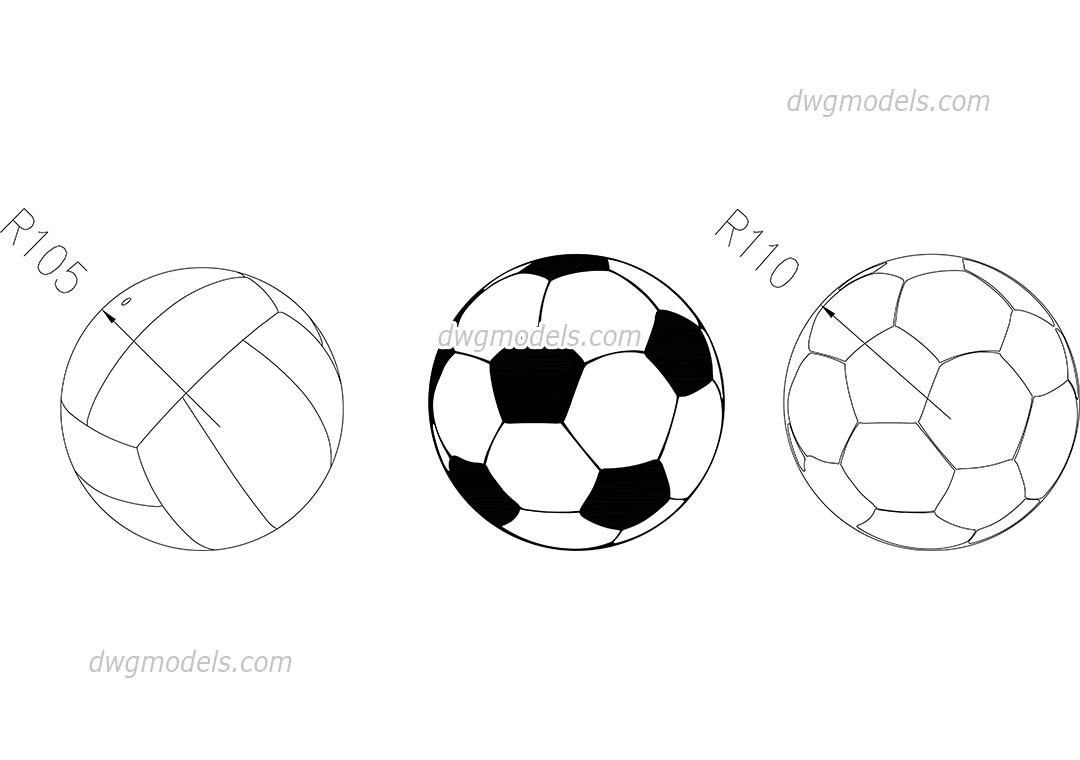 Soccer & Volleyball Balls dwg, CAD Blocks, free download.