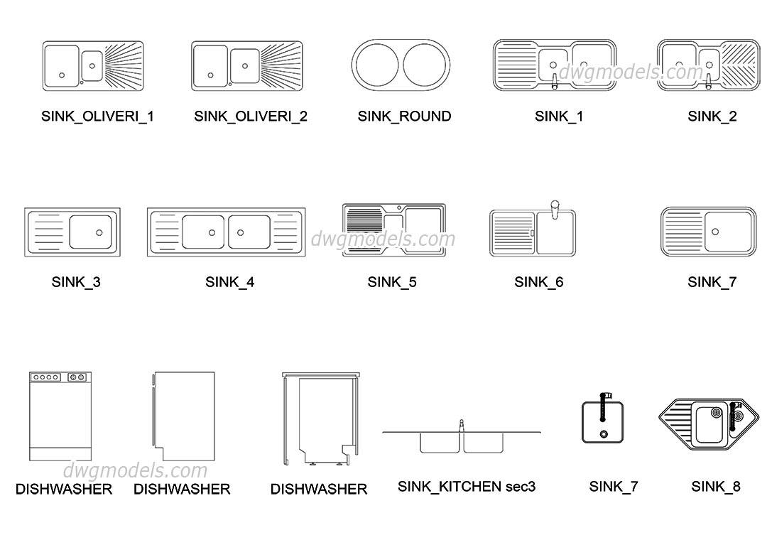 Drop-in Kitchen Sinks free CAD blocks download, AutoCAD file