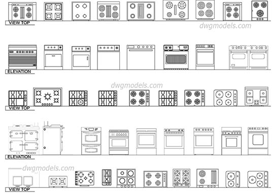 Ovens, Hot Plates, Burners - DWG, CAD Block, drawing.