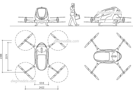 Passenger Drone dwg, cad file download free