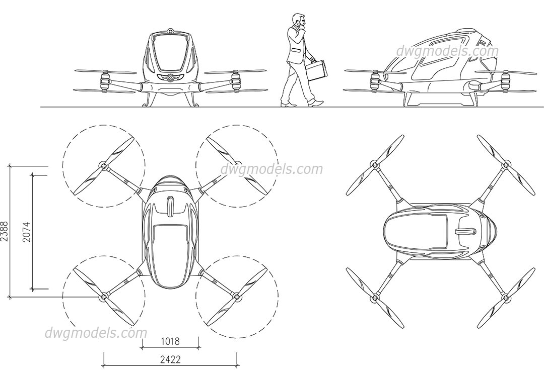 Passenger Drone dwg, CAD Blocks, free download.