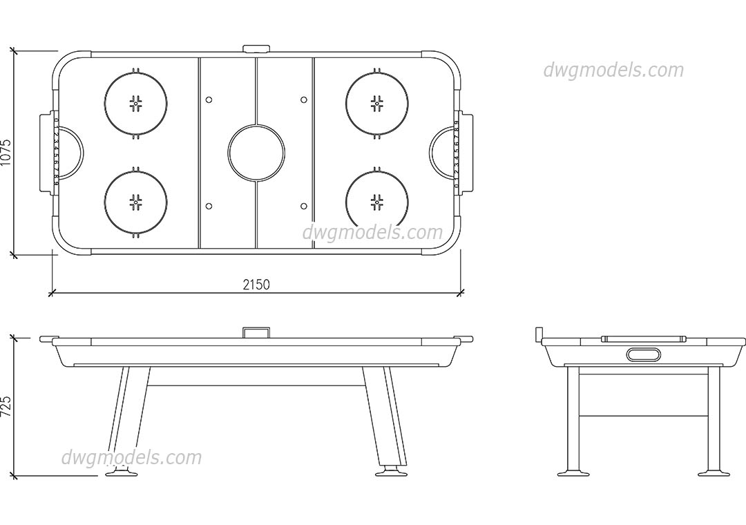 Merveilleux Air Hockey Table Dwg, CAD Blocks, Free Download.