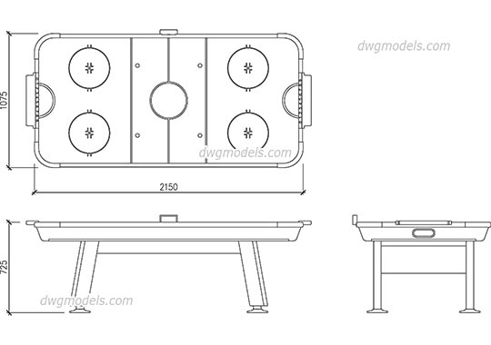 Air Hockey Table free dwg model
