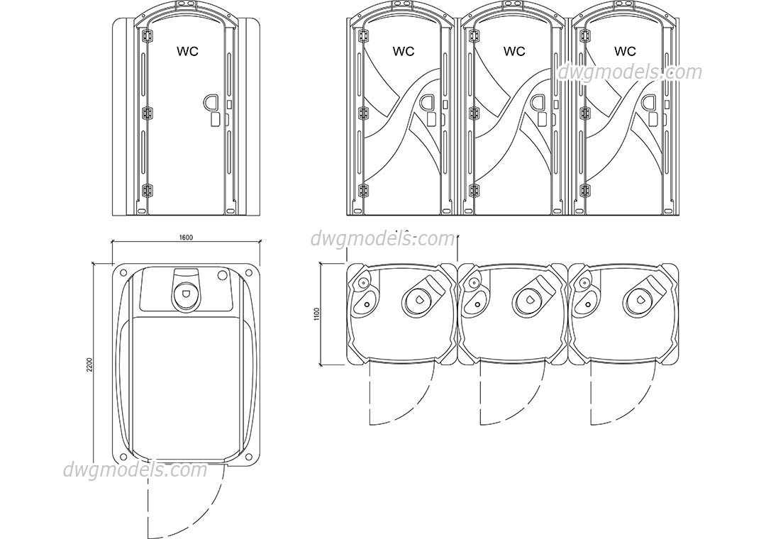 Portable Restrooms dwg, CAD Blocks, free download.