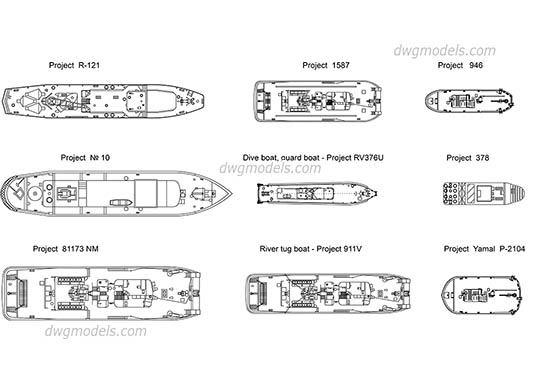 Boats Plans dwg, cad file download free