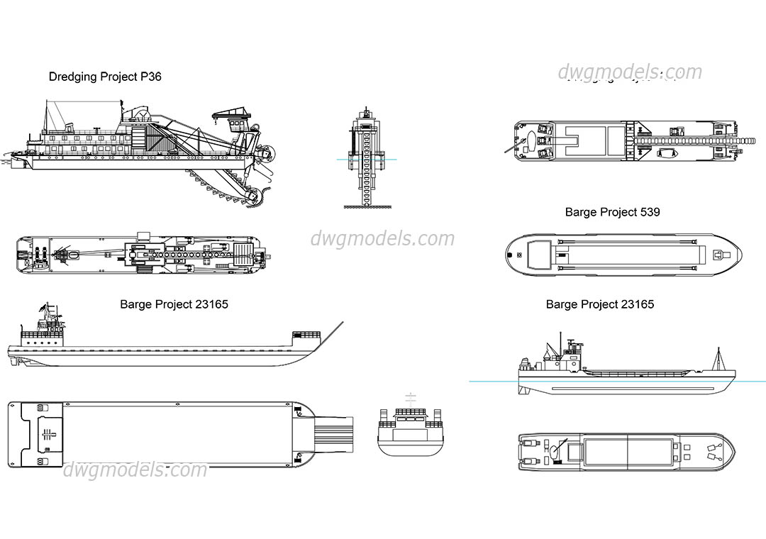 Dredging barges free autocad drawings dwg blocks download for Online cad drawing
