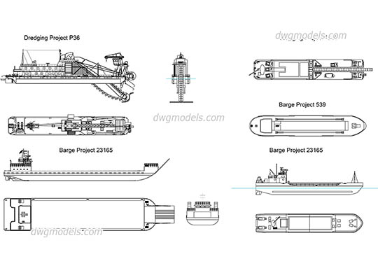 Dredging & Barges free dwg model