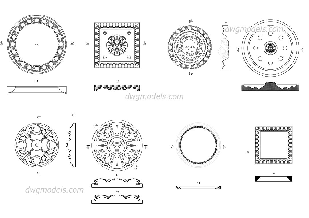 decorative rosettes free dwg file  cad blocks download