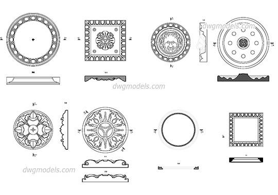 Decorative Rosettes - DWG, CAD Block, drawing