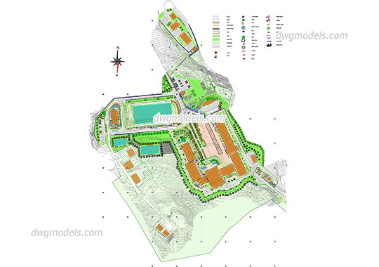 Landscape Design of School - DWG, CAD Block, drawing
