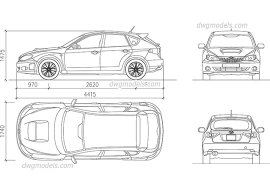 Subaru Impreza (2007) - DWG, CAD Block, drawing