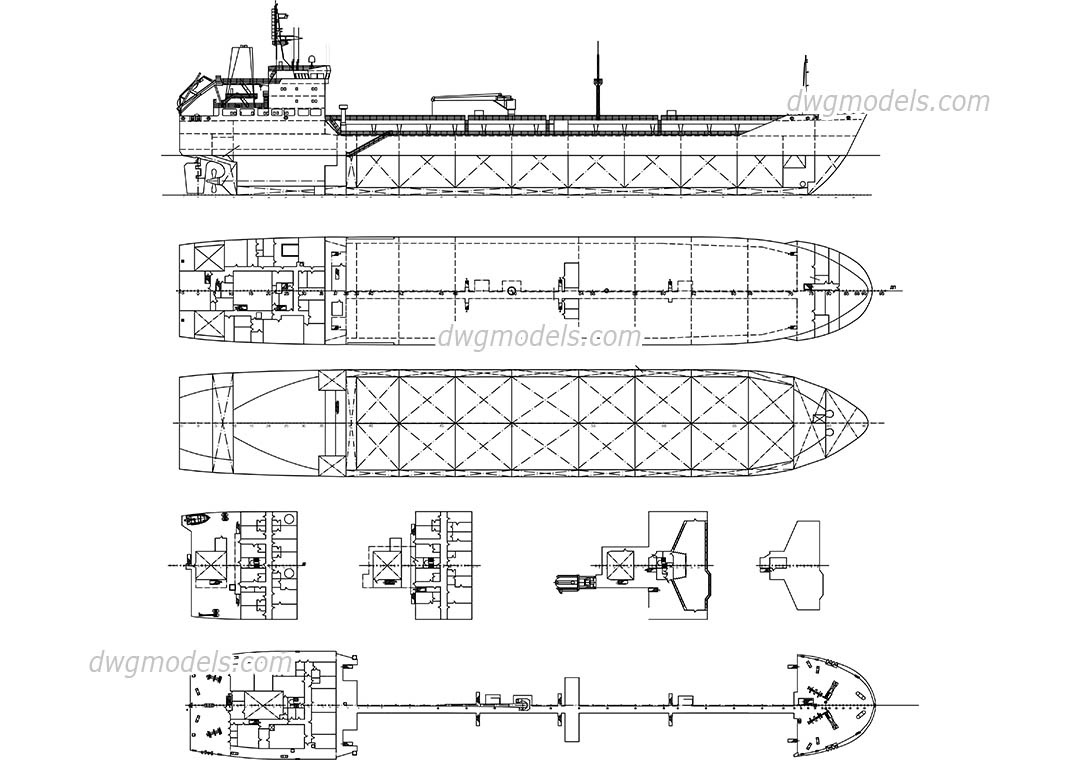 Tanker Ship dwg, CAD Blocks, free download.