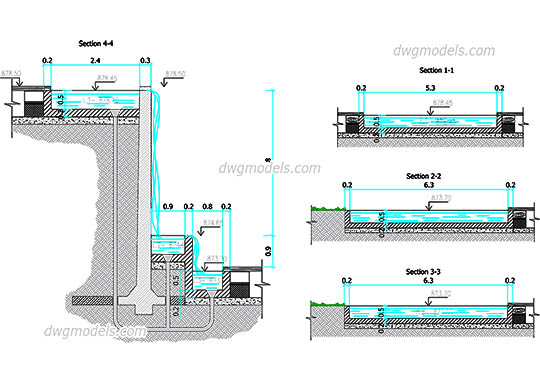 Waterfall - DWG, CAD Block, drawing