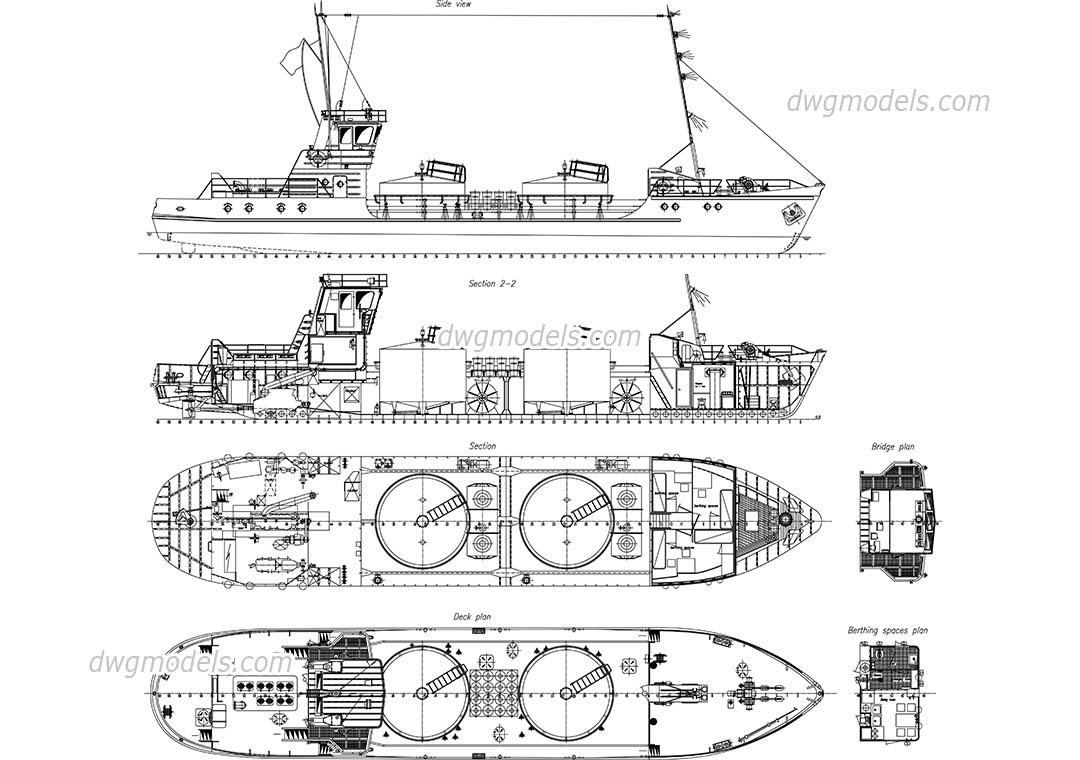 Detailed Drawing of Tanker Ship dwg, CAD Blocks, free download.