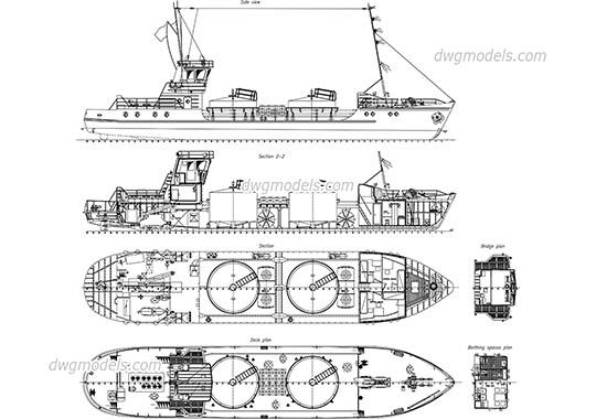 Detailed Drawing of Tanker Ship free dwg model