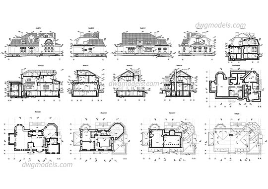 Historic Villa dwg, cad file download free.