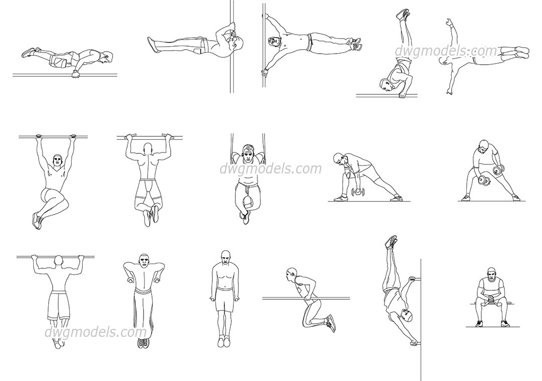 Workout dwg, CAD Blocks, free download.
