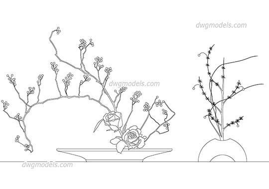 Ikebana Japanese floral dwg, cad file download free