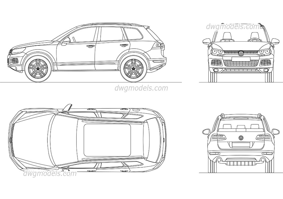 Volkswagen Tiguan (2015) dwg, CAD Blocks, free download.