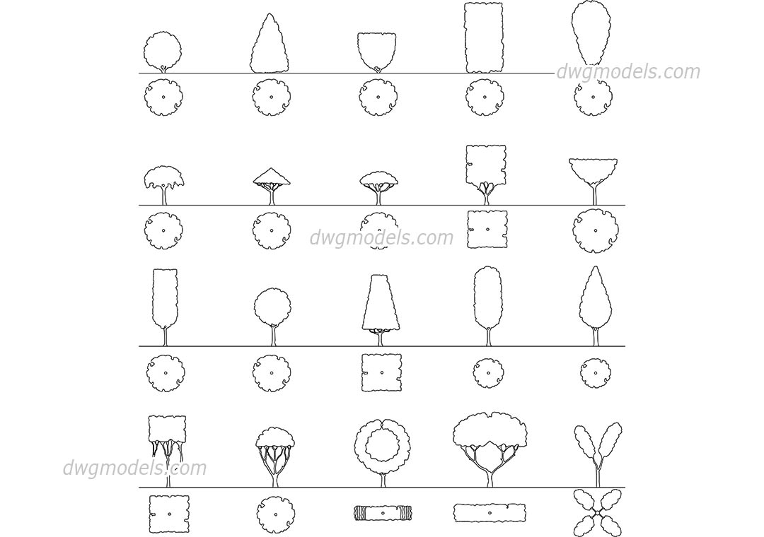 Shapes of Crowns Ornamental Trees dwg, CAD Blocks, free download.