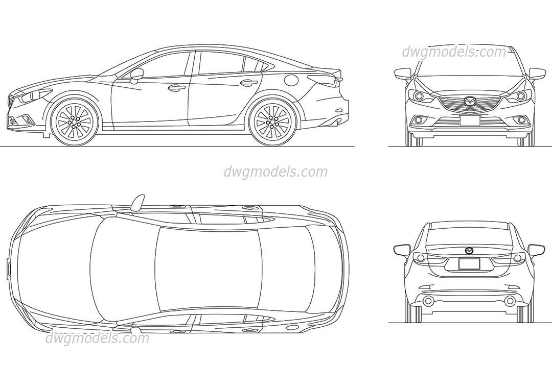 Mazda 6 dwg, CAD Blocks, free download.