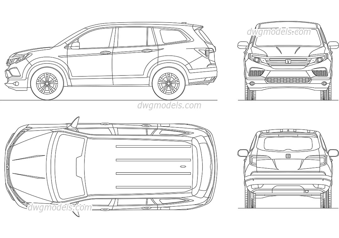Honda Pilot (2017) dwg, CAD Blocks, free download.