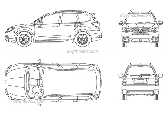 Subaru Forester (2017) - DWG, CAD Block, drawing