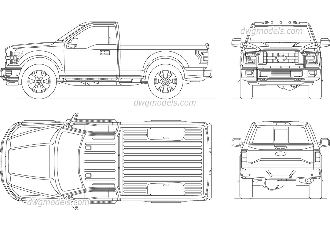 Ford F-150 dwg, CAD Blocks, free download.