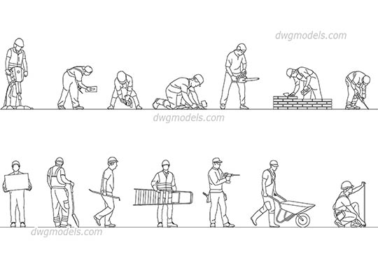 Construction Workers dwg, cad file download free