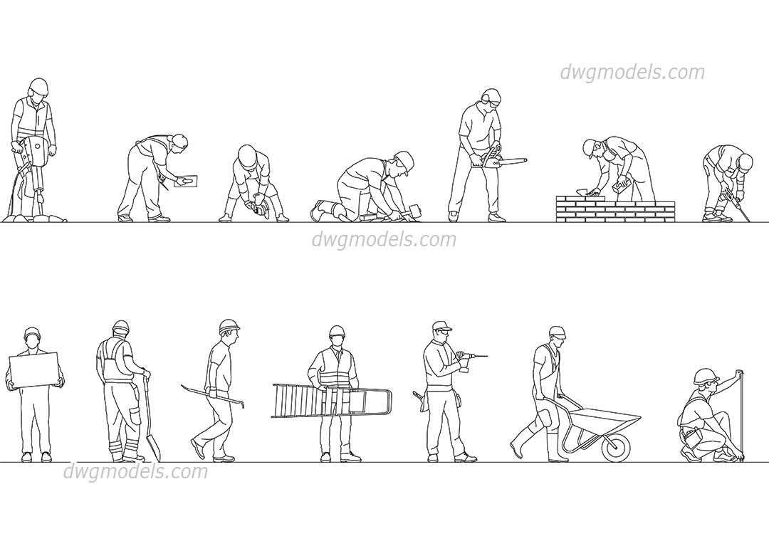 Construction Workers dwg, CAD Blocks, free download.