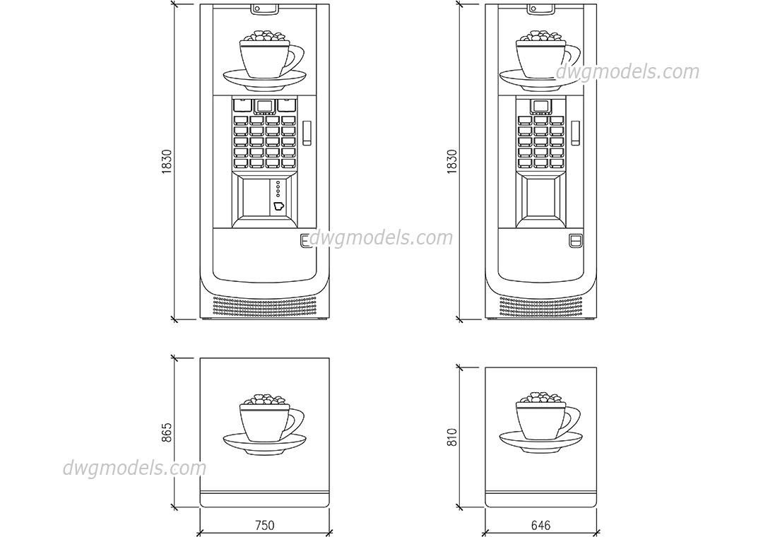 Vending Machine dwg, CAD Blocks, free download.