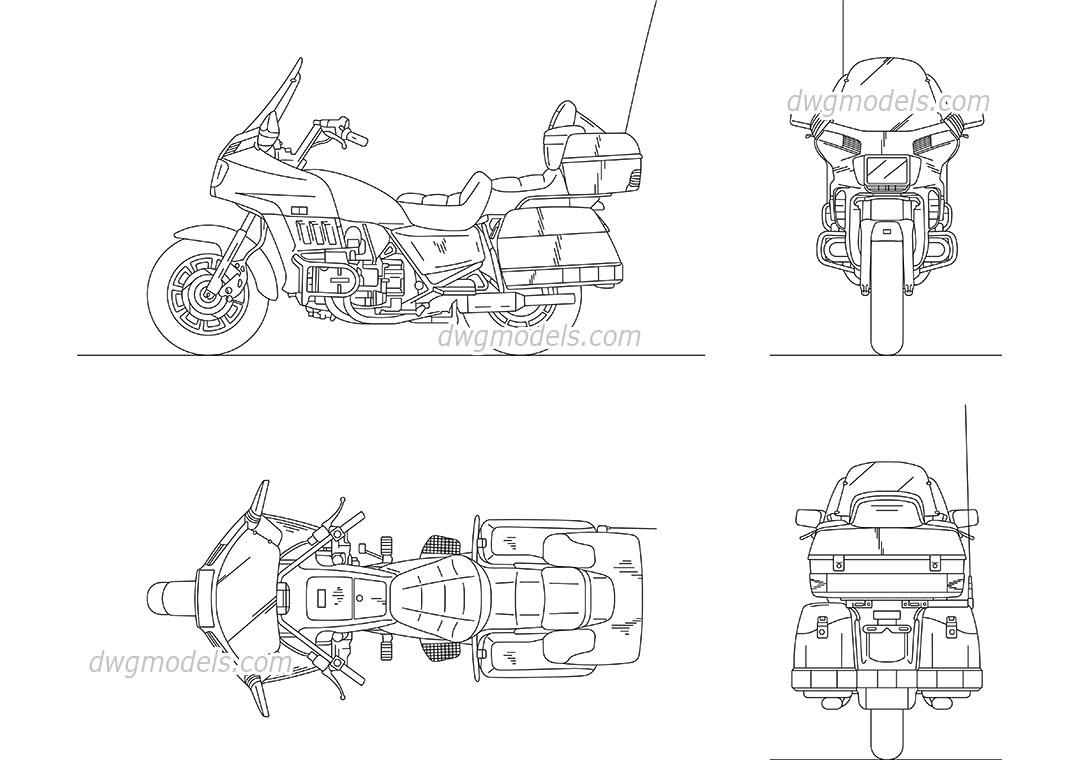 Honda Gold Wing dwg, CAD Blocks, free download.