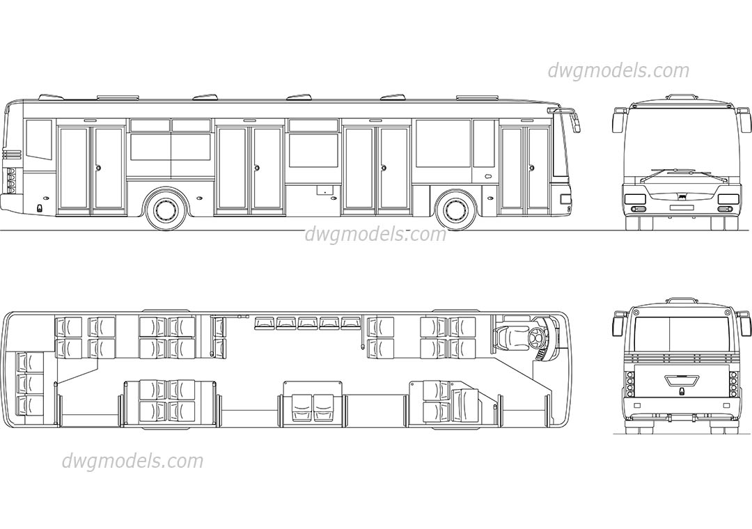 City Bus CAD block, AutoCAD file download, 2D model