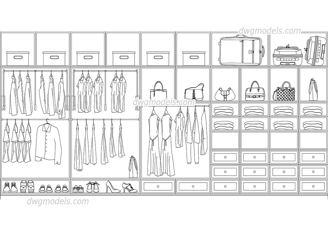 Walk In Closet dwg, CAD Blocks, free download.