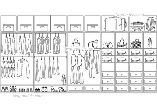 Front Elevation Wardrobe Autocad : Furniture dwg models free download